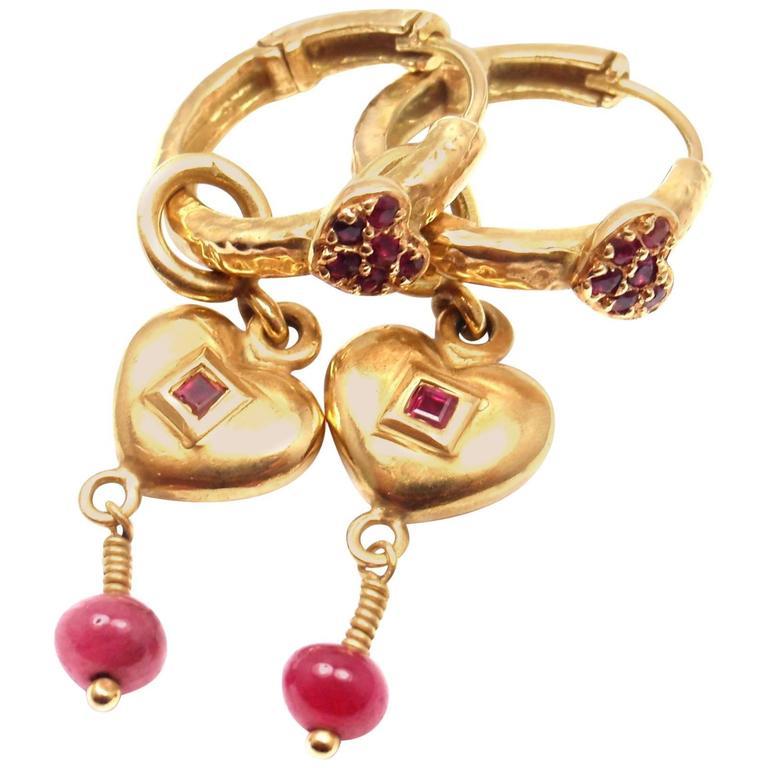 Loree Rodkin Ruby Heart Enhancers Gold Hoop Earrings