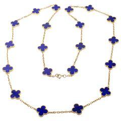 Van Cleef & Arpels Lapis Lazuli Gold Vintage Alhambra Necklace