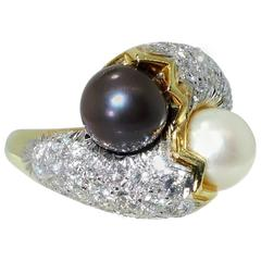 Twin Pearl Diamond Gold Toi et Moi Ring