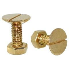 Iconic Paul Flato Nut and Bolt Gold Cufflinks