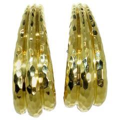 Henry Dunay Faceted Gold Hoop Earrings