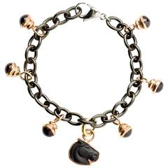 Steel Bracelet with Cabochon and Horse Head Charms