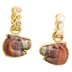 Jasper Sapphire Gold Horse Head Earrings