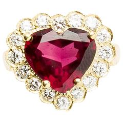 Garnet Diamond Gold Princess Heart Shaped Ring