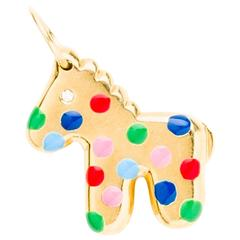 Solid Gold Horse Pendant With Enamel Polka Dots