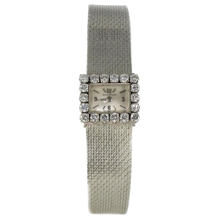 Jaeger LeCoultre Ladies White Gold Diamond Manual Wind Wristwatch Ref 166448