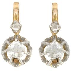 French Antique Diamond Gold Sleeper Earrings