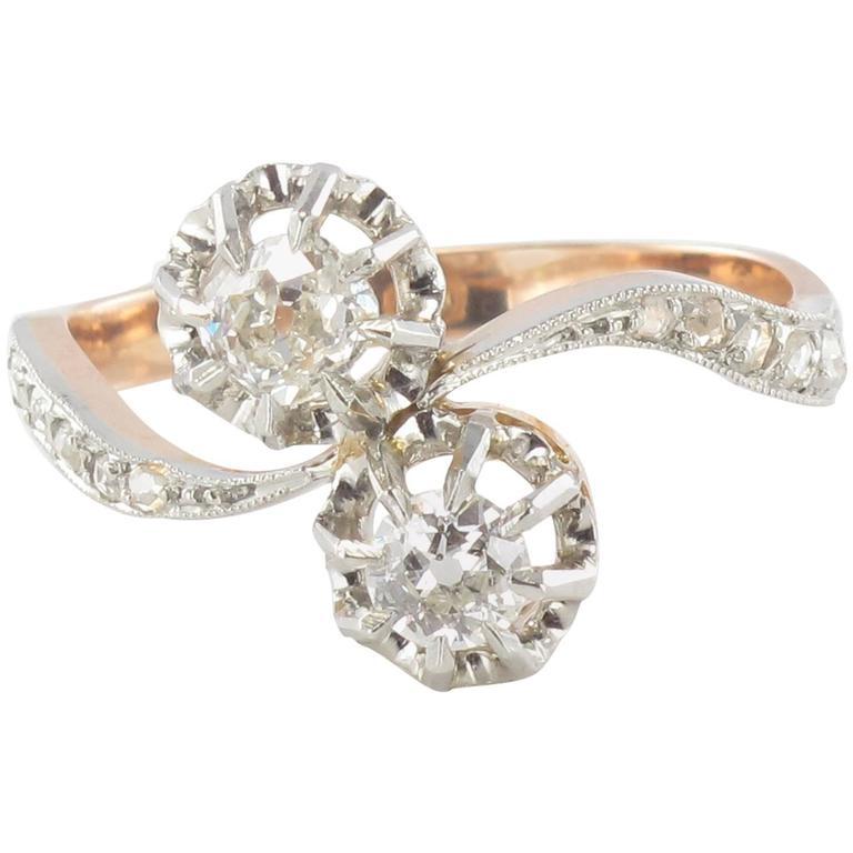 Antique Diamond Gold Toi et Moi Ring