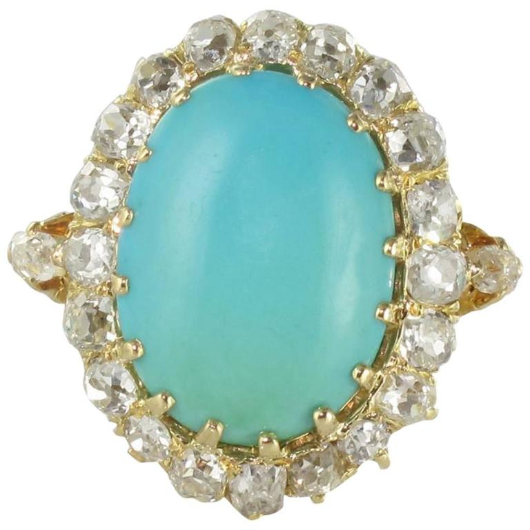 Antique Turquoise Cabochon Diamond Gold Ring For Sale