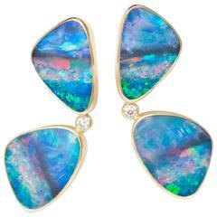 Australian Boulder Opal Diamond Gold Butterfly Earrings