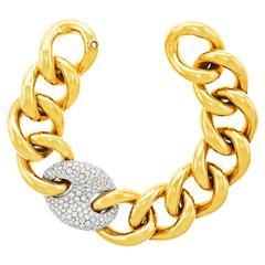 Stunning Bucherer Gold Bracelet with Diamond Pave Link