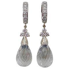Rock Crystal Briolette Diamond White Gold Dangle Earrings