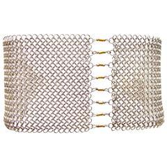 Allison Stern Gold Sterling Silver Chain Maille Mesh Bracelet