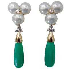 Michael Kneebone White Pearl Diamond Removable Chrysoprase Drop Earrings