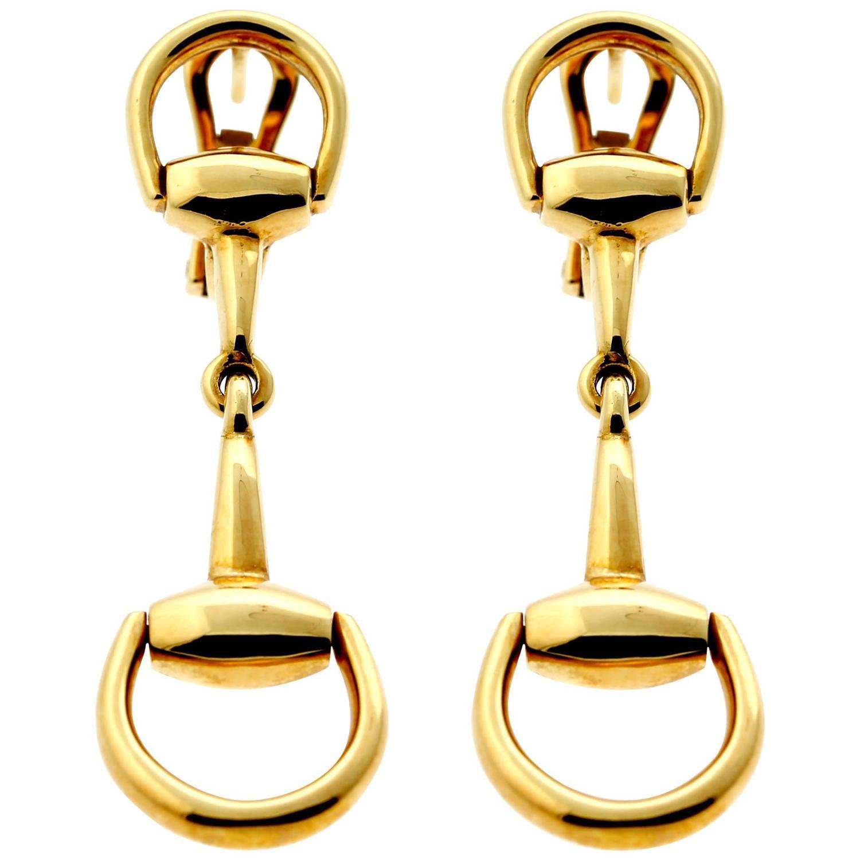 de4b303c38b Gucci Horsebit Gold Drop Earrings At 1stdibs