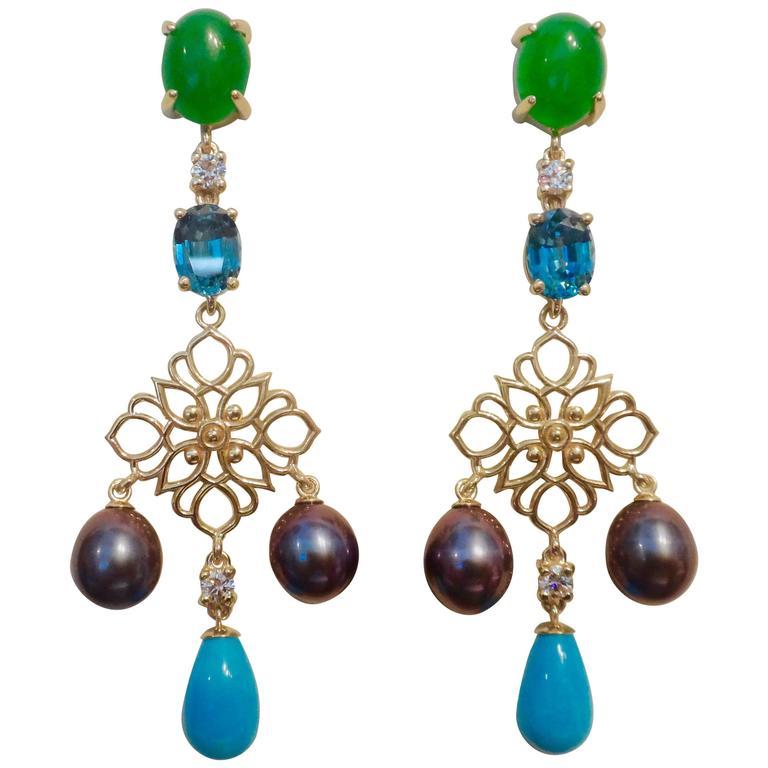 Michael Kneebone Chrysoprase Zircon Diamond Pearl Turquoise Dangle Earrings