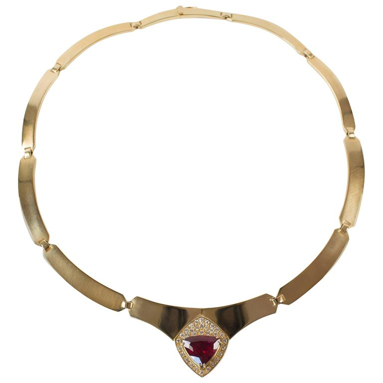 Handmade Yellow Gold Collar with Rubelite and Diamonds