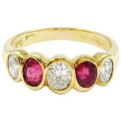 Damiani Ruby Diamond Five-Stone Gold Band Ring
