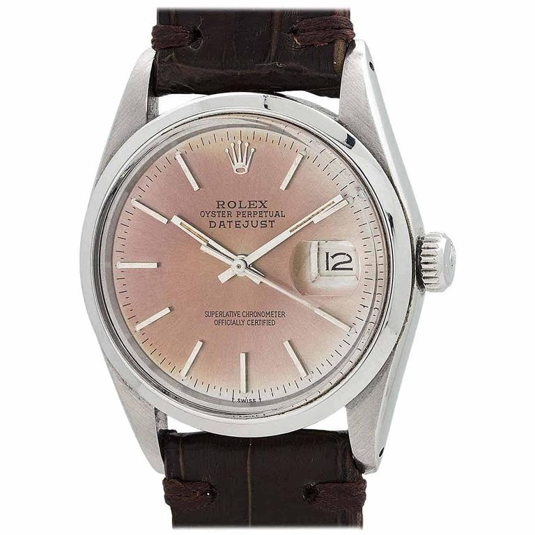 Rolex Stainless Steel Datejust Patina'd Dial Automatic Wristwatch Ref 16000 1978 For Sale