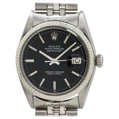 Rolex Stainless Steel Black Pie Pan Dial Datejust Automatic Wristwatch 1968