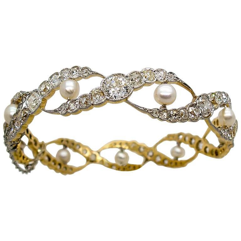 Edwardian  Pearl  Diamond Woven Motif Bangle Bracelet