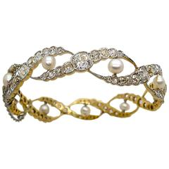 Edwardian  Pearl  Diamond Woven Motif Bangle Bracelet