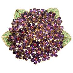 "Rene Boivin ""Bouquet de Violettes"" Amethyst Ruby Tsavorite Gold Spray Brooch"