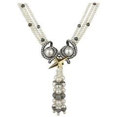 Cultured Freshwater Pearl Diamond Sterling Silver Gold Necklace