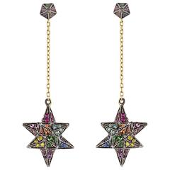 Ruby Sapphire Tsavorite Diamond Amethyst Rainbow Merkaba Star Cone Drop Earrings