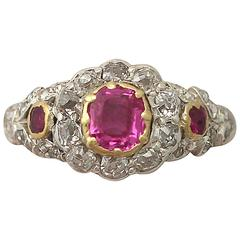 1890s Antique Victorian Synthetic Ruby & Diamond Yellow gold Cocktail Ring