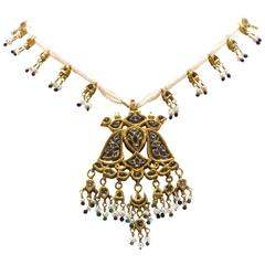 Antique Indian Pearl Necklace with Gold Pendant