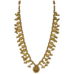 "Antique Indian Gold Necklace ""Kolhapuri Saj"""