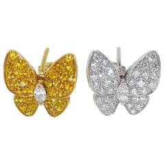 Van Cleef & Arpels Diamond & Yellow Sapphire Butterfly Earrings, Cert & Box