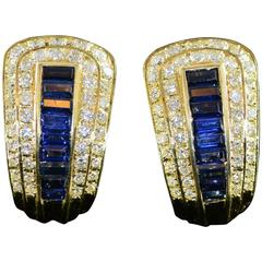 French Sapphire Diamond Gold Statement Clip Earrings