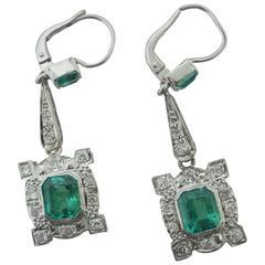 Antique Colombian Emerald Diamond Gold Drop Earrings