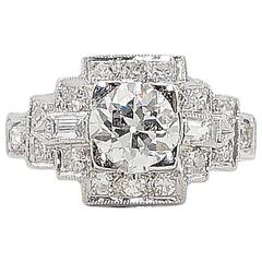 Art Deco 1.43 Carats Diamonds Platinum Engagement Ring