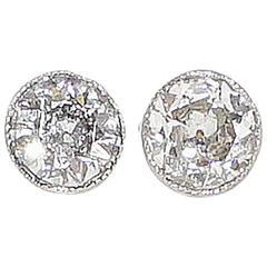 Edwardian Diamond Gold Platinum Stud Earrings