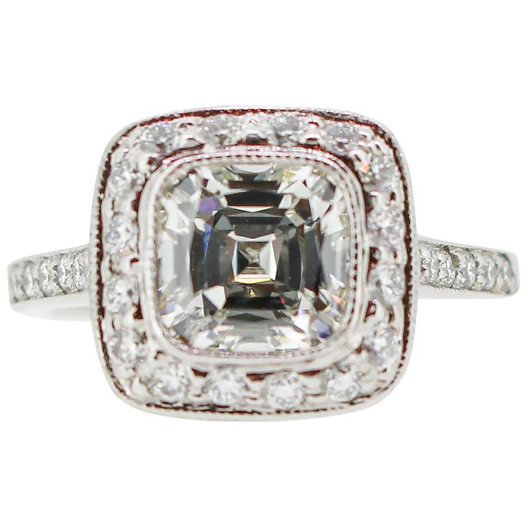 Tiffany & Co. 1.62 Carat Legacy Cushion Cut Platinum Halo-Style Engagement Ring 1