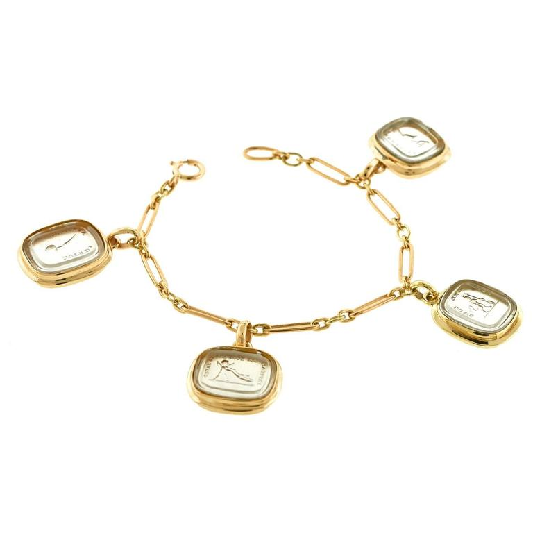 Rare Georgian Glass Signet Charms on Gold Bracelet