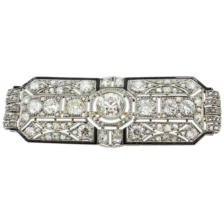 Art Deco Black Enamel 8.00 Carats Diamonds Platinum Filigree Brooch