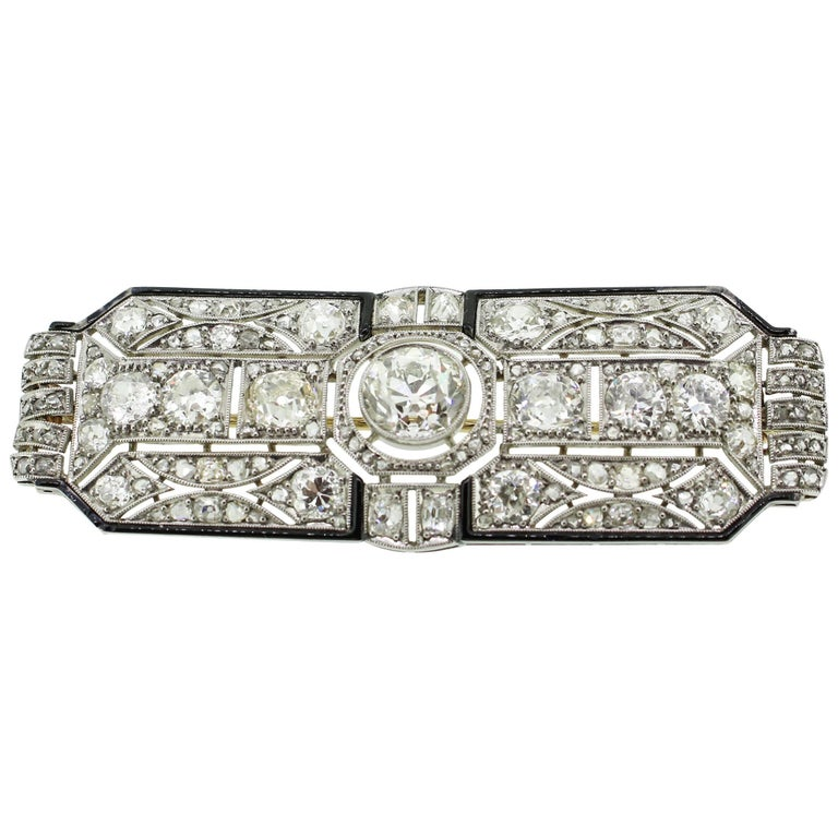 Art Deco Black Enamel 8.00 Carats Diamonds Platinum Filigree Brooch For Sale