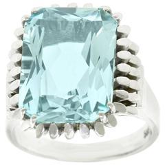 Fabulous Sixties Mod Aquamarine White Gold Ring