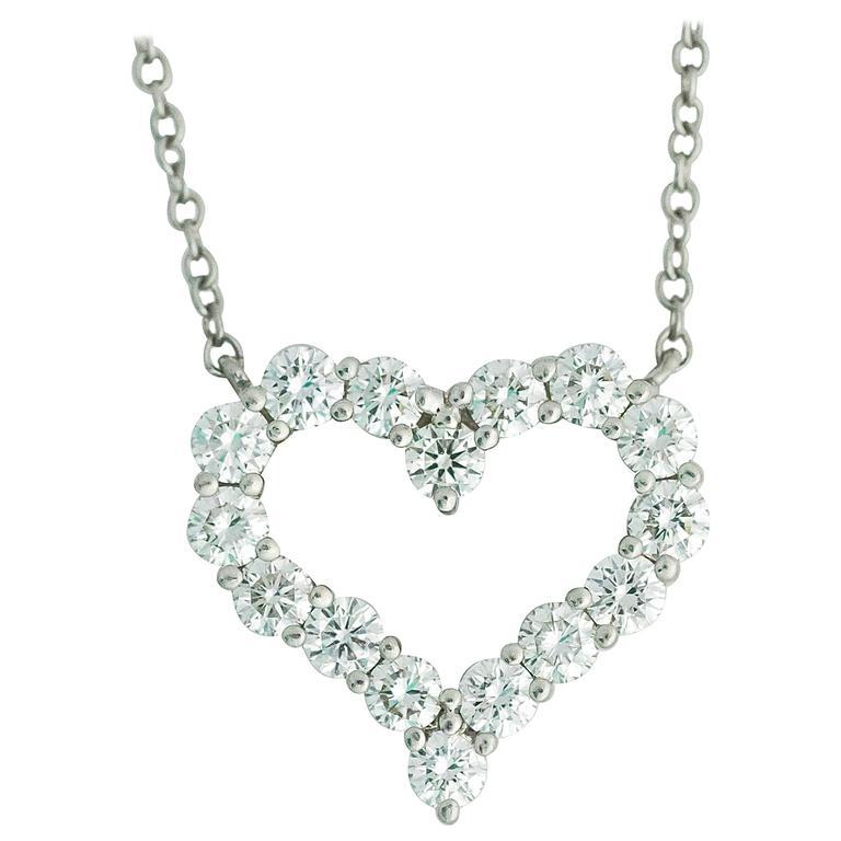 2140726c84b19 Platinum Tiffany & Co Diamond Large Heart Link Chain Necklace