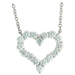 Platinum Tiffany & Co Diamond Large Heart Link Chain Necklace