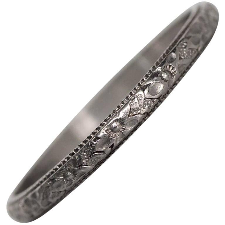 1920s Art Deco Hand Engraved Platinum Wedding Band Ring At 1stdibs