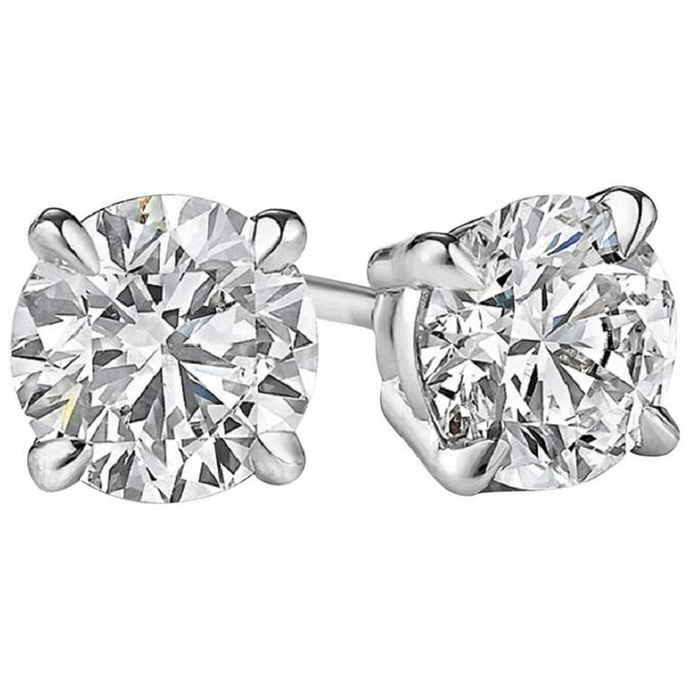 2.03 Carat Diamonds Gold Stud Earrings