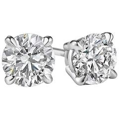2.03 Carat Diamonds Gold Stud Earrings