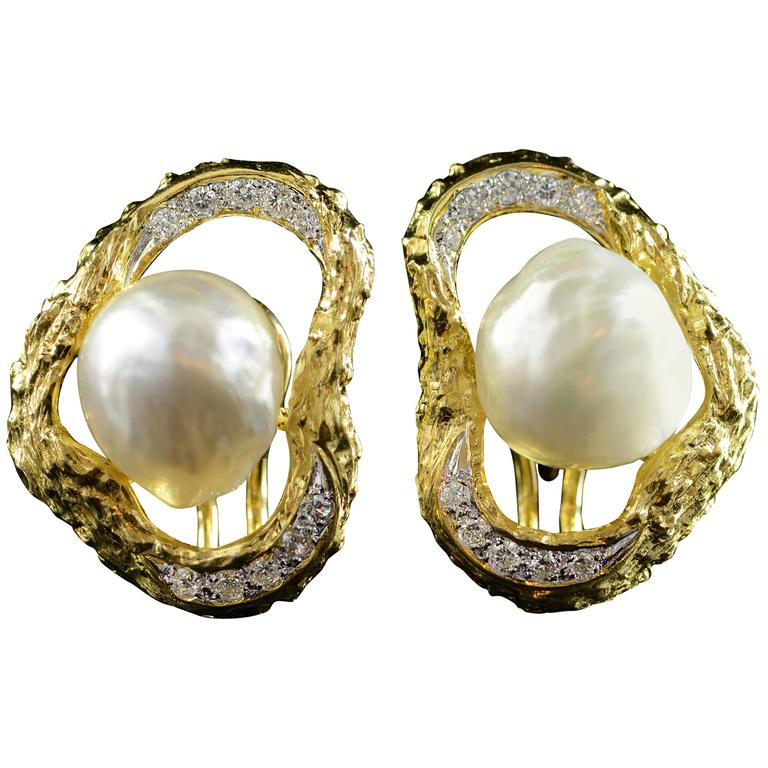 Baroque Pearl Diamond Gold French Clip Earrings