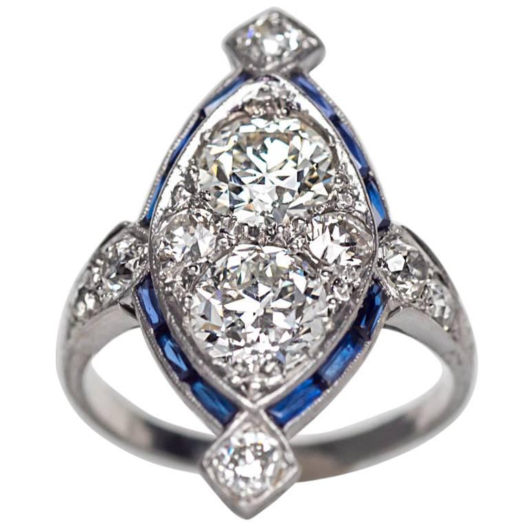 1920s Art Deco Sapphire Diamond Platinum Two-Stone Engagement Ring