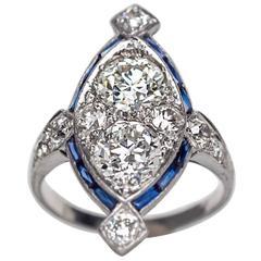 1920s Art Deco Sapphire Diamond Platinum Two Stone Engagement Ring